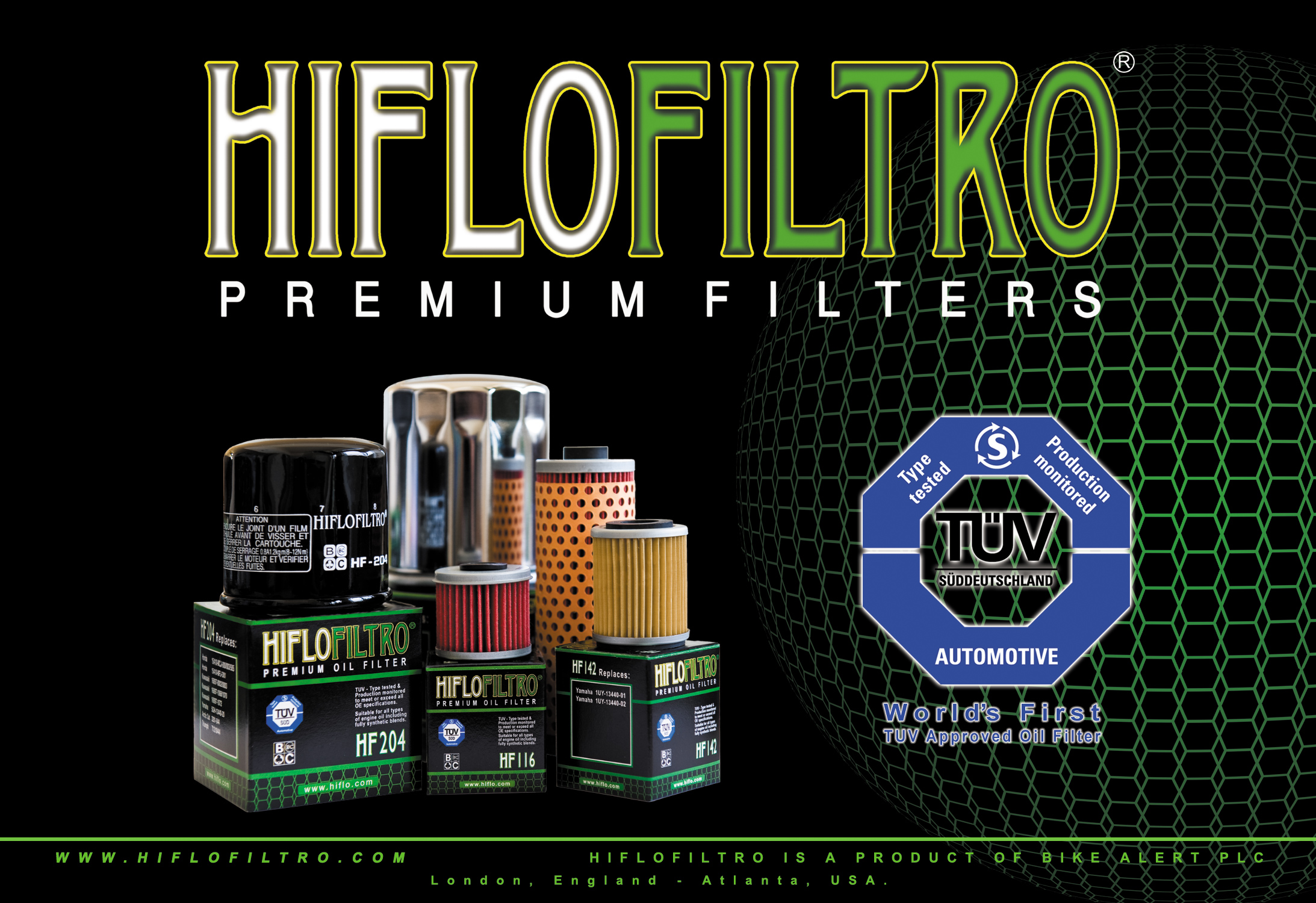 Hi-flo oil filters are the world's first and only TÜV approved motorcycle oil filter